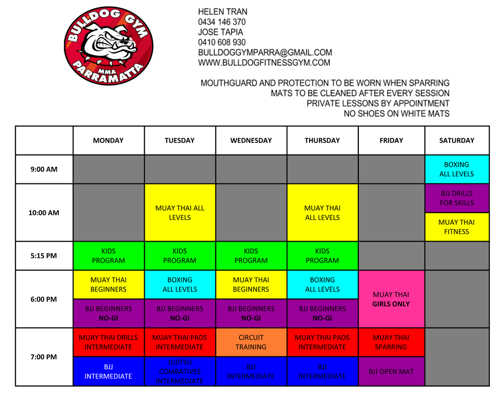 Bulldog Gym Parramatta - timetable